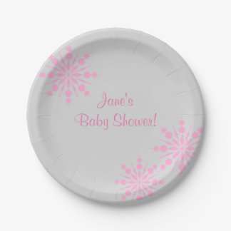 Pink Snowflake Baby ShowerPaper Plates 7 Inch Paper Plate