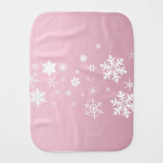 Pink Snowflake Background Burp Cloth