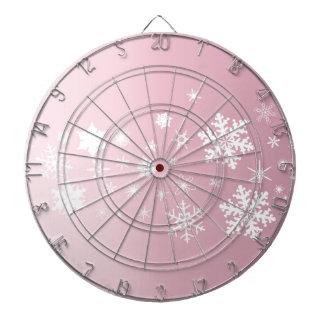 Pink Snowflake Background Dartboard