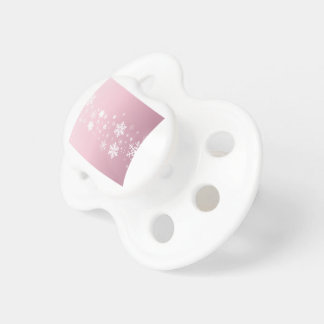 Pink Snowflake Background Pacifier