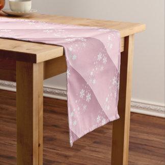 Pink Snowflake Background Short Table Runner