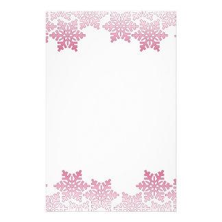 Pink Snowflake Border Custom Stationery