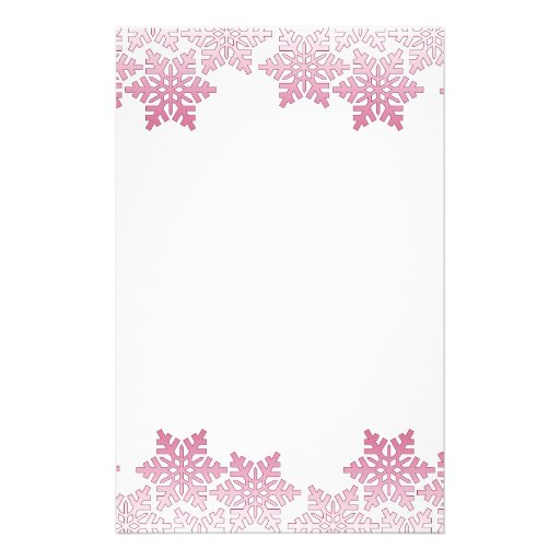 Pink Snowflake Border Stationery