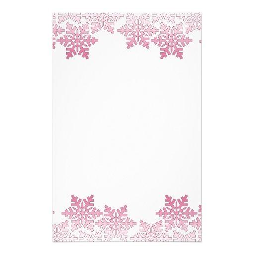 Pink Snowflake Border Stationery