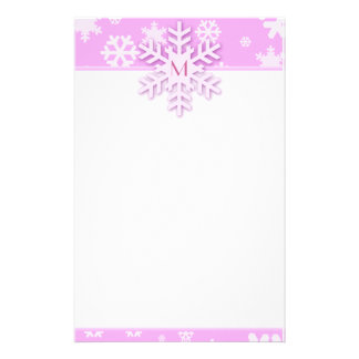 Pink Snowflake Border with Monogrammed Snowflake Personalized Stationery