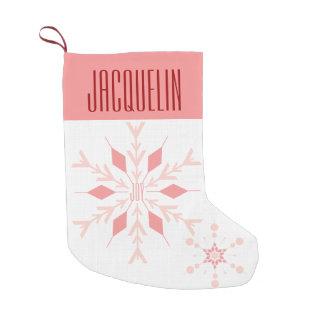 Pink Snowflake JOY with Name Small Christmas Stocking