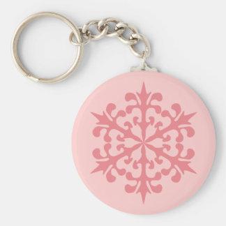 Pink Snowflake Keychain