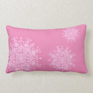 Pink Snowflake on Pink Lumbar Pillow