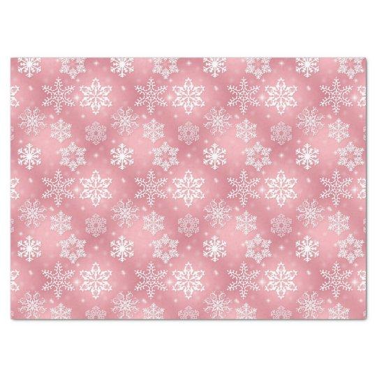 Pink snowflake pattern tissue paper