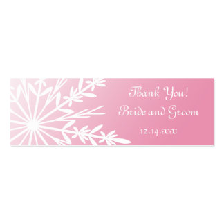 Pink Snowflake Wedding Favor Tags Business Card Template