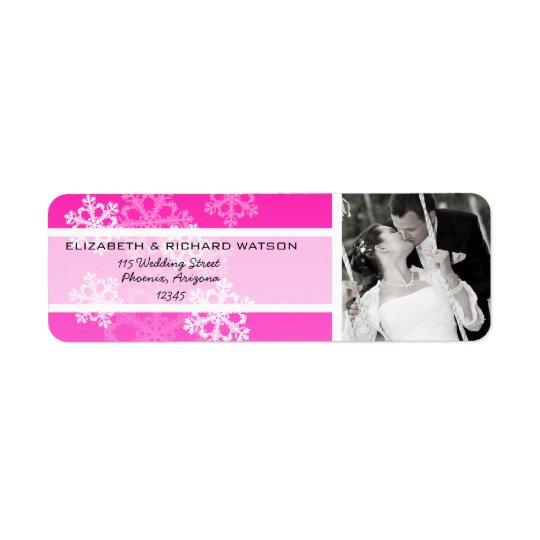 Pink Snowflakes Christmas Wedding Label Return Address Label