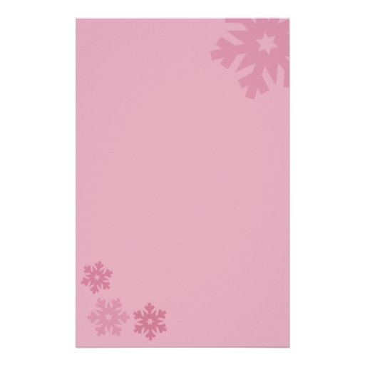 Pink Snowflakes on Pink Background Stationery Paper