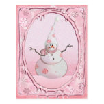 PINK SNOWMAN, SCARF & SNOW HAT by SHARON SHARPE Postcard