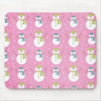 Pink Snowmen Mouse Pad