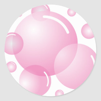 Pink soap bubbles classic round sticker