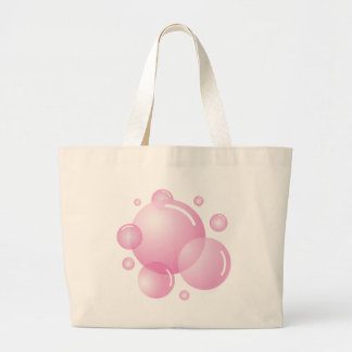 Pink soap bubbles large tote bag