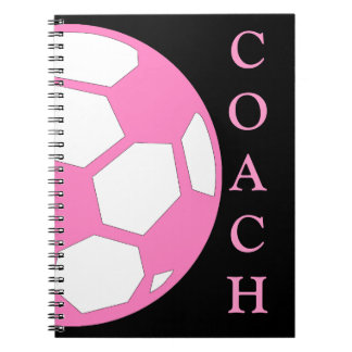 Pink Soccer Ball Coach Notebook