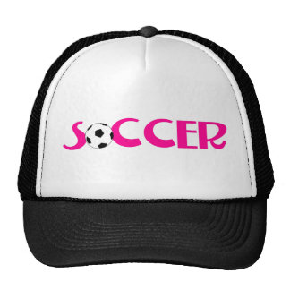 Pink soccer ball design trucker hat