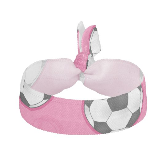 Pink Soccer Ball Pattern Elastic Hair Tie