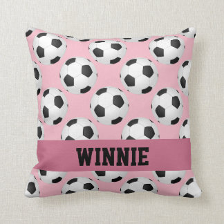 Pink Soccer Ball Pattern Sports Personalized Name Throw Pillow