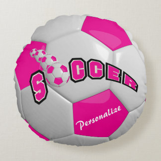 Pink Soccer Ball | Personalize Round Pillow