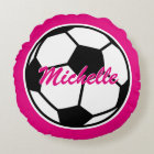 Pink soccer ball throw pillow for girls bedroom