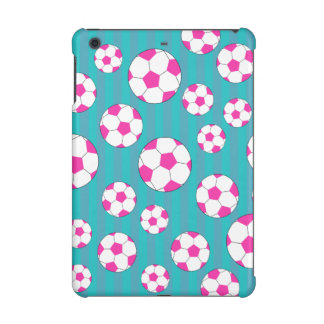 Pink soccer ball turquoise stripes iPad mini cover