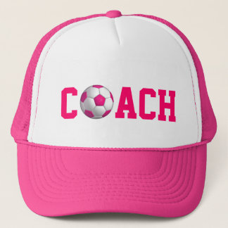 Pink Soccer Coach Trucker Hat