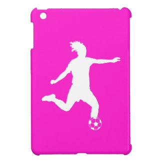 Pink Soccer Silhouette iPad Mini Case