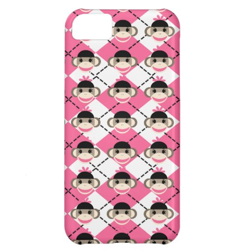 Pink Sock Monkeys on Pink White Argyle Diamond Cover For iPhone 5C