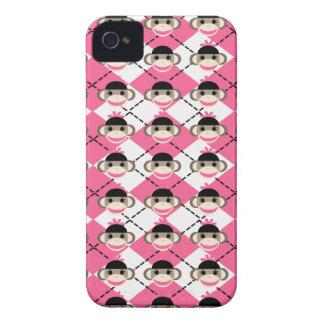 Pink Sock Monkeys on Pink White Argyle Diamond iPhone 4 Cover