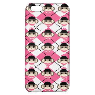 Pink Sock Monkeys on Pink White Argyle Diamond iPhone 5C Covers