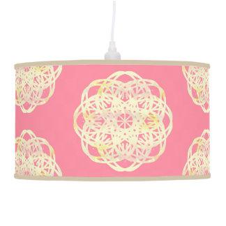Pink Soft Rainbow Lace Flower Pendant Lamp
