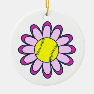 Pink Softball Girl Ceramic Ornament