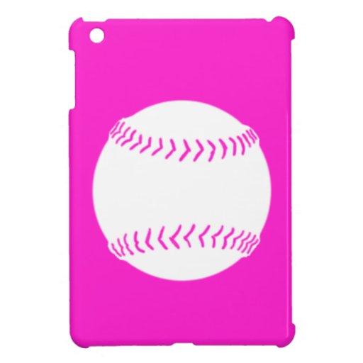 Pink Softball Silhouette iPad Mini Case