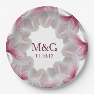 Pink Southern Magnolia Blossoms & Initial Letters Paper Plate