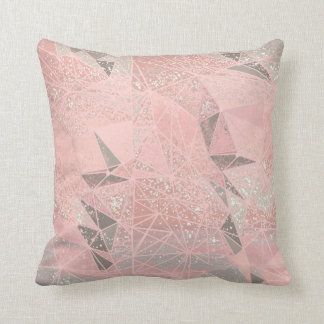 pink space geometry throw pillow