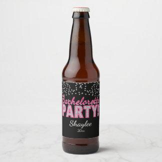Pink Sparkle, Bachelorette Party Beer Bottle Label