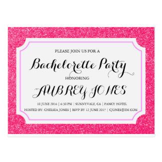 Pink Sparkle Bling Bachelorette Party Invitation Postcard