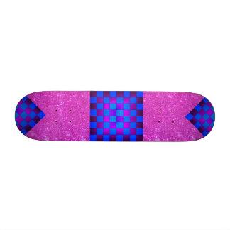 Pink Sparkle Blue Purple Chess Girls Skateboard