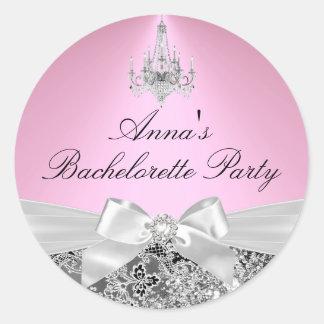 Pink Sparkle Bow & chandelier Bachelorette Sticker