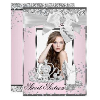 Pink Sparkle Bow Tiara Photo Sweet 16 Invitation