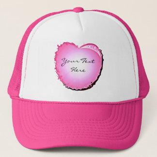 Pink Sparkle Bubble Heart Trucker Hat
