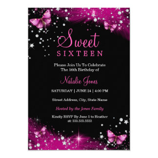 Pink Sparkle Butterfly Diamond Sweet 16 Invite