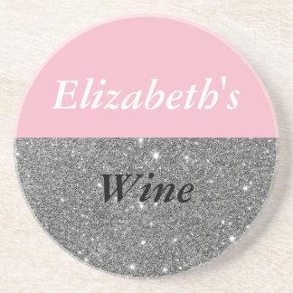 Pink Sparkle Custom Name Wine Coaster