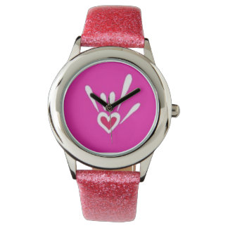 Pink Sparkle ILY Watch