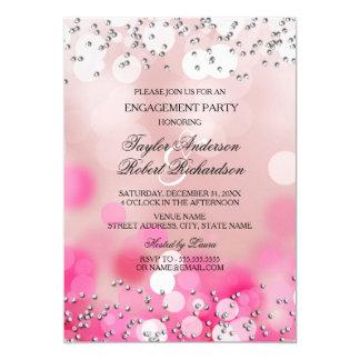 Pink Sparkle Lights Engagement Party Invitation