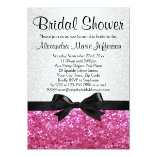 Pink Sparkle-look Bow Bridal Shower Invitation