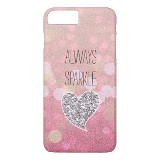 Pink Sparkle Silver Glitter Heart iPhone 8 Plus/7 Plus Case