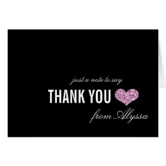 Pink Sparkle Sweet 16 Thank You Card